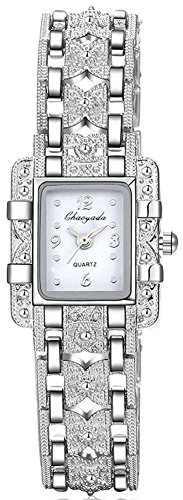 ChezAbbey Women's Royal Roman Style Square Crystal Studded Dial Quartz Wrist Watch With Stainless Steel Bracelet, White Dial
