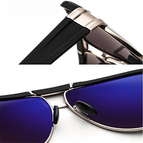 lente de de la de película pesca vidrios la hombres grande los la de la RAQ de polarizadas de las sol de que de Black Black grandes vendimia Caja vidrios del azul Gafas conduce metal lente sol gafas de sol Gafas URdxFqw7wH