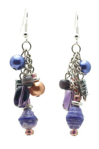 (Maisha Fair Trade Recycled Purple Paper, Purple Glass, Silver Color Beads Dangling Earrings )
