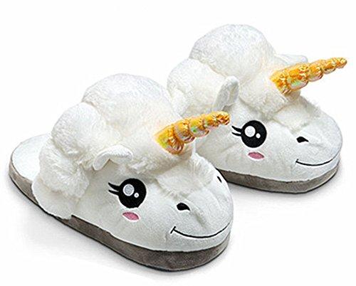 WAWA Plush White Unicorn Slippers Adult