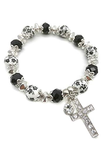 Nazareth Store Black Crystals Rosary Bracelet Christian Classic Flowers Beaded Bracelet With Cross Sacred Gift for Teen Girls Jewelry for Women And Men