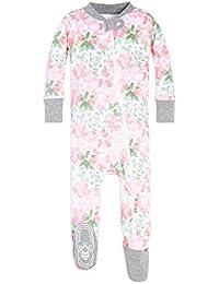 Baby Girls Sleeper Pajamas, Zip Front Non-Slip Footed Sleeper PJs, 100% Organic Cotton