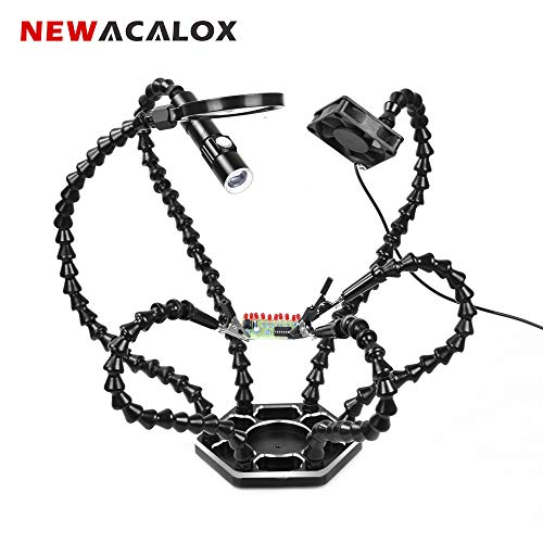 Helping Hands with Fans Soldering Third Hand with Magnifying Glass and Mini Flashlight - Six Flexible Arms Metal Base NEWACALOX Soldering Tool - Perfect for Electronics Repair, Jewelry