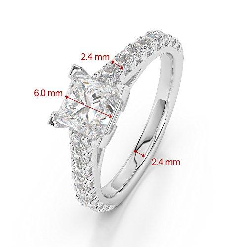 Or blanc 18carats 0,45CT G-H/VS sertie de diamants taille princesse Saphir et bague de fiançailles Agdr-2008