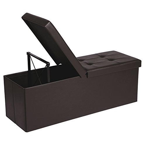 "SONGMICS 43"" L Folding Storage Ottoman Bench with Flipping Lid, Storage Chest Footrest Padded Seat with Iron Frame Support, Brown ULSF75BR"