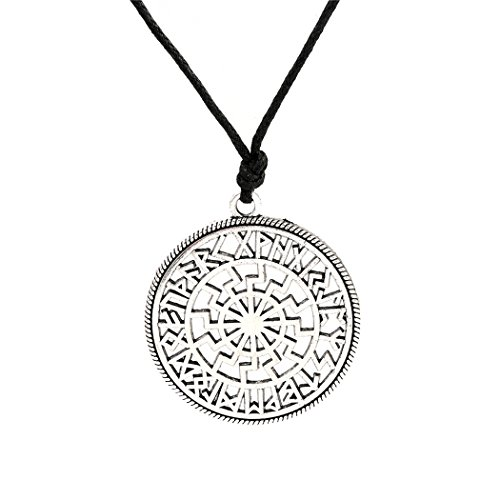 (Wicca Viking Norse Runes Round Charms Wax Cord Chain Necklaces Accessories (Antique Silver))