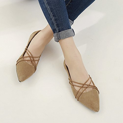 Pointed Suede T Casual Slip Brown Dress Flats Toe on Women's for Shoes JULY Comfort Ballet rq8UqTP