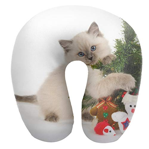 (Dimanzo Soft Neck Pillow,Kitten Spotted Toys Tree Christmas Print,Neck-Supportive Travel Pillow)