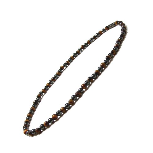 Accents Kingdom 8MM Tiger's Eye Bead 3x Power Hematite Magnetic Necklace, 20