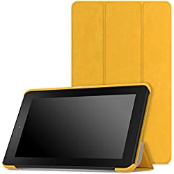 MoKo Case for Fire 2015 7 inch - Ultra Lightweight Slim-shell Stand Cover for Amazon Fire Tablet (7 inch Display - Previous 5th Generation, 2015 Release Only), FM YELLOW