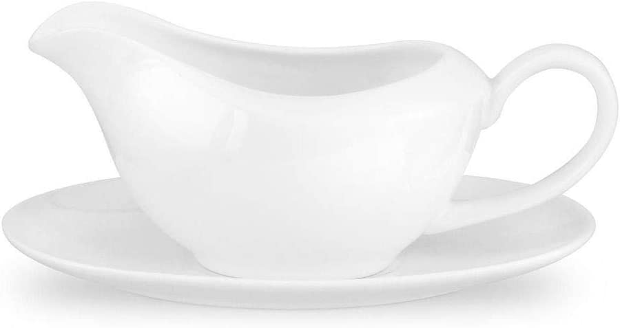 Portmeirion Home /& Gifts Gravy Boat and Stand White
