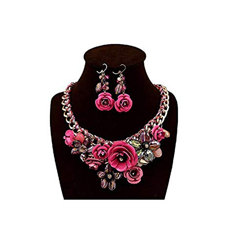 HoBST Floral Flower Statement Necklace and Earring Set Choker Chunky Gold Plated Chain Pendant Jewelry (Hot ()