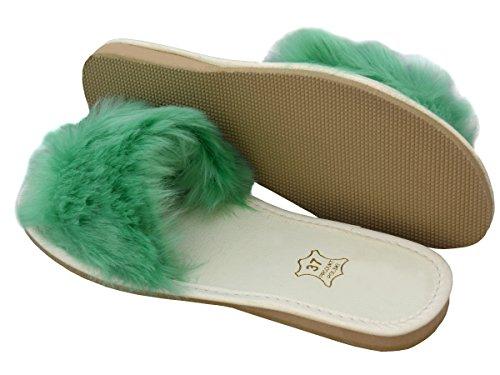 Bawal Women's Leder Slippers Fluffy Model XA02 Mint E4l3HXF