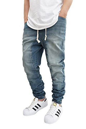 MEN'S VINTAGE DROP CROTCH DENIM JOGGER PANTS (L)