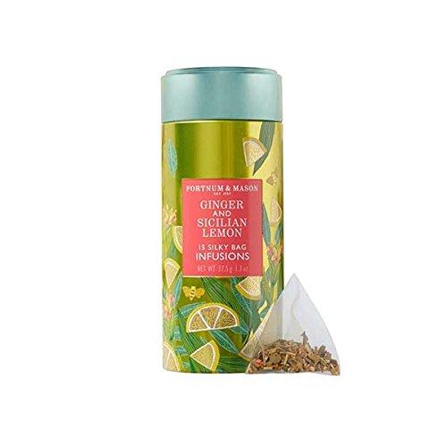 (Fortnum & Mason British Tea, Ginger & Sicilian Lemon Infusion Tin, 15 Silky Tea bags (1 Pack) NEW Product ID48SD - USA Stock)