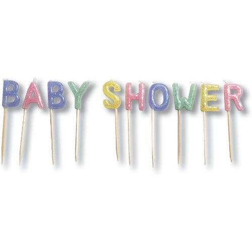 [Creative Converting Baby Shower Glitter Pick Candles] (Party Glitters Costumes)