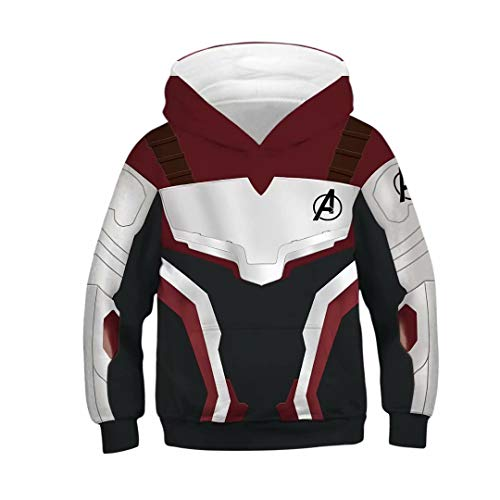 Tsyllyp Kids Superhero Captain Endgame Hoodie Quantum Realm Cosplay Costume Tops ()