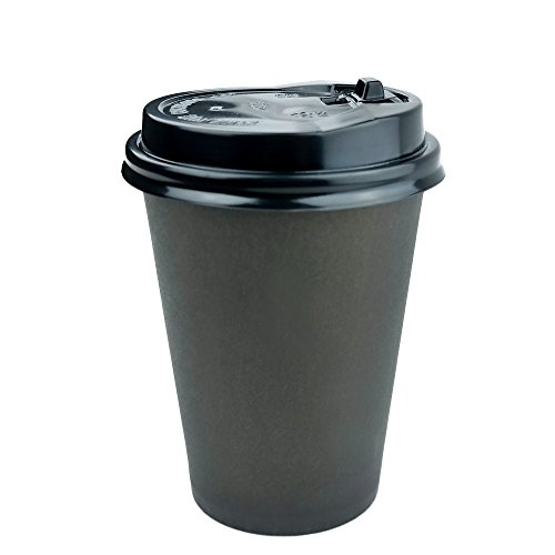 Anbers Pack of 100, 8 Oz Paper Coffee Hot Cups with Travel Lids, Black (Paper Coffee Cups 8 Oz Lids compare prices)