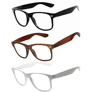 OWL - Non Prescription Glasses - Clear Lens - 1 Black + 1 Brown + 1 White - UV400 (3 Pack)