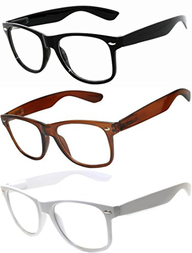 OWL - Non Prescription Glasses - Clear Lens - 1 Black + 1 Brown + 1 White - UV400 (3 - Nerd Glasses White