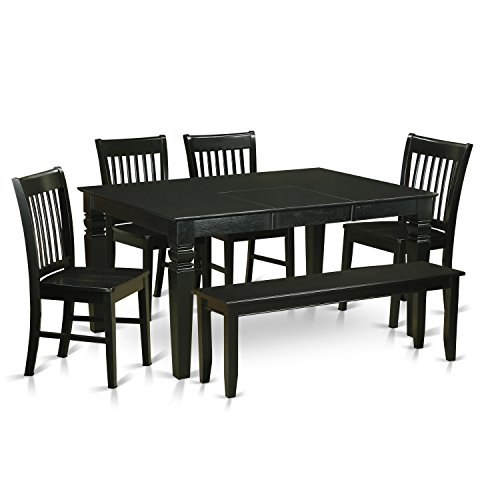East West Furniture WENO6D-BLK-W 6 Piece Table and 4 Kitchen Chairs with Bench Set