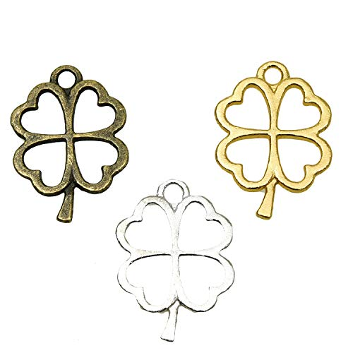 Monrocco 150p pcs Four Leaf Clover Charms Jewelry Making Accessories]()