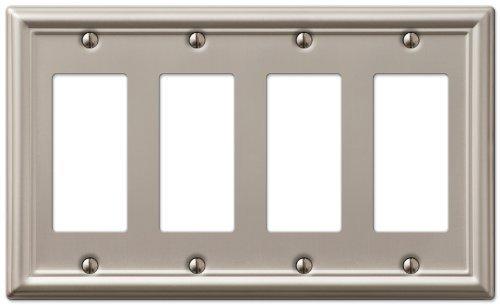 AmerTac 149R4BN Chelsea Steel Quad Rocker-GFCI Wallplate, Brushed Nickel by AmerTac