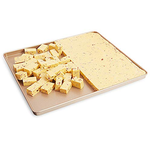 - CHEFMADE 12-Inch Rimmed Nougat Baking Pan, Non-stick Carbon Steel Cake & Cookies Sheets, FDA Approved, 12