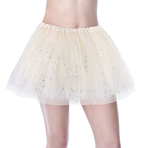 Sparkle Lined Skirt - Jasmine Tutu Women Adult Sparkly Glitter Sheer Tulle Ballet Tutu Skirt,Cream