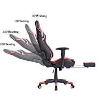 Ficmax Ergonomic Gaming Chair Racing Style Office Chair High-back Large Size Executive Chair PC Computer Desk Chair with Lumbar Massage Support and Footrest