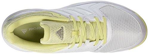 adidas Women's Essence Handball Shoes, Ftwwht/Silvmt/Iceyel White (Footwear White/Silver Metallic/Ice Yellow)