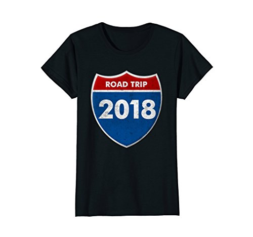 Womens Road Trip 2018 Road Sign T Shirt Family Friends Vacation Medium - Ladies Road Trip