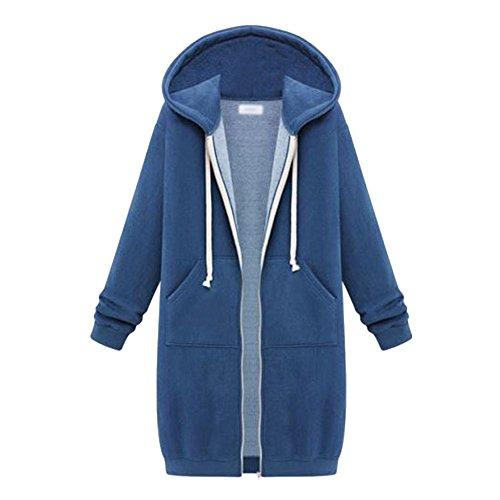 al Fleece Hoodie Pockets Zipper Long Hooded Sweatshirt Jacket Outerwear Blue 4XL ()
