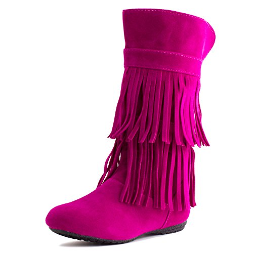 Girls Pink Boots (Kali Girls 2 Layer Fringe Faux Suede Boots, Hot Pink, 11 M US Little Kid)
