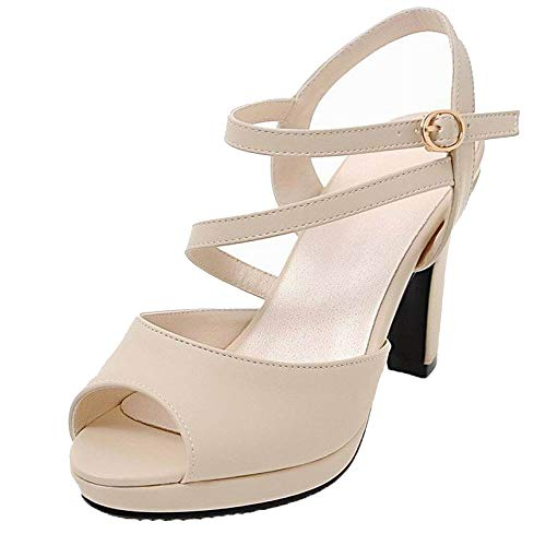 VogueZone009 Women Pu Buckle Open-Toe High-Heels Solid Sandals, CCALP015387 apricot
