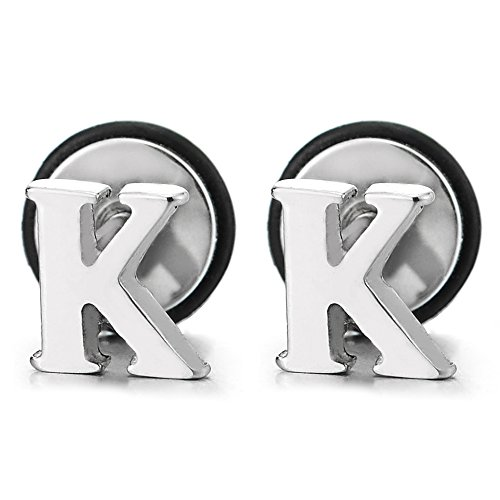 Alphabet Letter Initial Earrings Stainless
