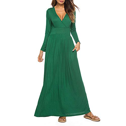 TOPUNDER Womens Fashion Sexy Casual V Neck Tie Print Long Dress Green