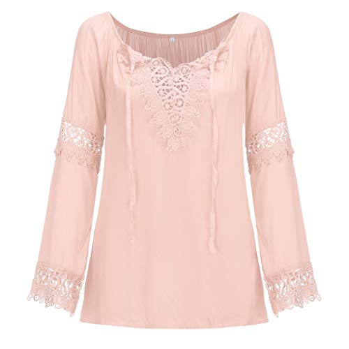 FRENDLY Womens Plus Size Off Shoulder Lace Pure Color Short Sleeve Blouse Loose Tops Summer Tops Casual Shirts Pink