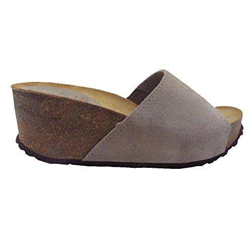 150 - Sandalia bio de piel con cuña arena tostada
