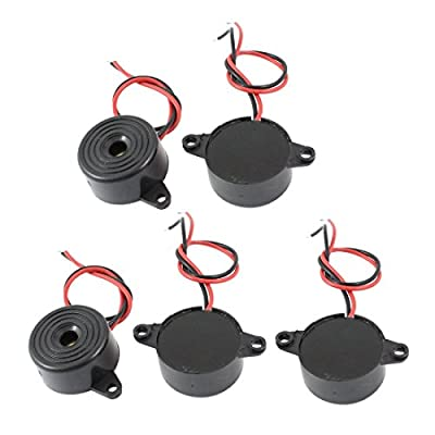 Gfortune 5PCS Electronic Buzzer Alarm Active Piezo DC 3-24V Continuous Sound Black ABS Housing
