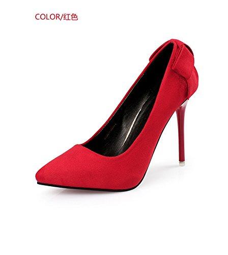 KHSKX-Red High Heels Sanding High Heel Shoes Super High Heel Bow Single Shoe And Thin Heel Thirty-eight VQfjUlj4Tq