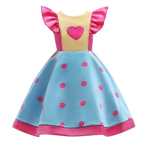 IIYoYo Line Patchwork Skirt Cap Sleeve Ruffles Girls Costume Clothes Flower Princess Dresses For Wedding Party Communion Prom (Polka Pink, 150)