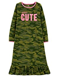 Carters Pajamas Camo and Pink Microfleece Nightgown