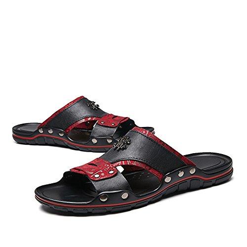 Banda Toe de los Sandalias Peep Superior Cuero Diapositivas Casual Genuino Hombres Deslizador del de Decoración Red Ancho de Beach de Perno xqqOr0wvt