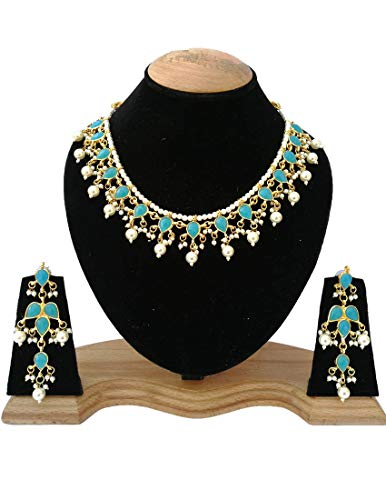 Finekraft Meena Kundan Bridal Wedding Designer Gold Plated Turquoise Color Necklace Jewelry Set by Finekraft