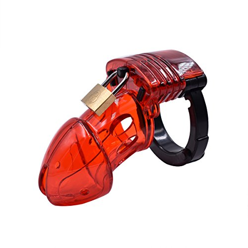 YiFeng Adjustable Male Chastity Cage Device Belt Restraint Cuff Ring Bondage Fetish (Red) by YiFeng