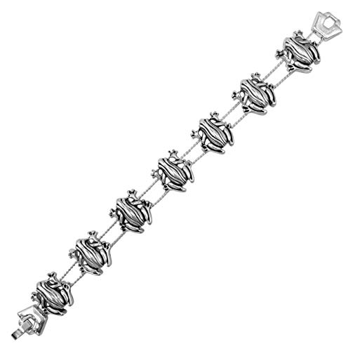 Gypsy Jewels Theme Slide Charm Fun Silver Tone Bracelet (Frog)