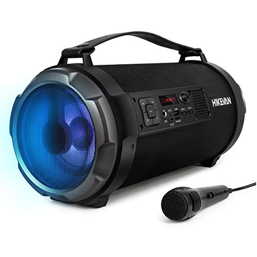 Bluetooth Boombox Stereo Speaker,Portable Ambient LED Lights Street Sound Blaster with Build-in Rechargeable Battery, FM Radio/Aux Input/USB/Micro SD/Wired Microphone Include for in-Outdoor Events (Outdoor Boombox)