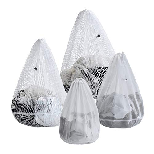 Bogo Arty Mesh Laundry Bags - 4 Pack Drawstring Laundry Washing Bags for Delicates, Garments, Lingerie, Socks, Bras and Baby Clothes, White