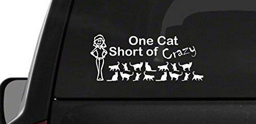 One Cat Short Of Crazy Lady (M20) Vinyl Decal Sticker Car (Lady Vinyl Decal)